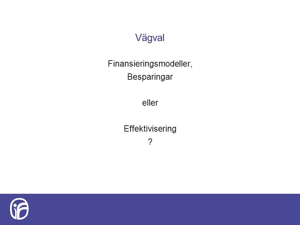 Finansieringsmodeller, Besparingar eller Effektivisering