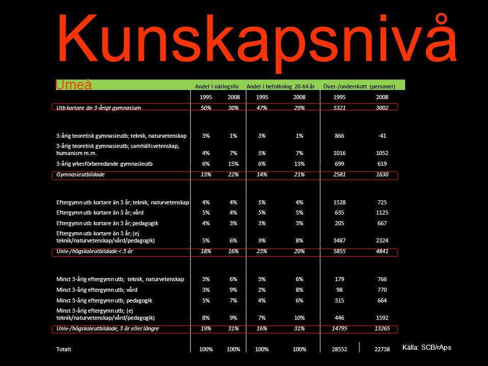 Kunskapsnivå Umeå. Andel i näringsliv. Andel i befolkning 20-64 år. Över-/underskott (personer)