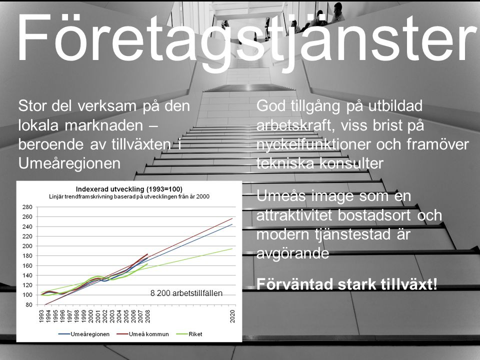 Företagstjänster Stor del verksam på den lokala marknaden – beroende av tillväxten i Umeåregionen.