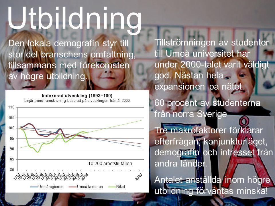 Utbildning Den lokala demografin styr till stor del branschens omfattning, tillsammans med förekomsten av högre utbildning.