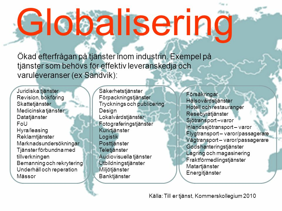 Globalisering Ökad efterfrågan på tjänster inom industrin. Exempel på tjänster som behövs för effektiv leveranskedja och varuleveranser (ex Sandvik):