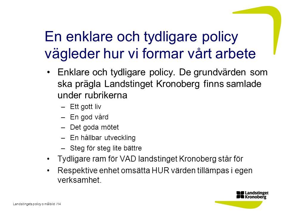 En enklare och tydligare policy vägleder hur vi formar vårt arbete