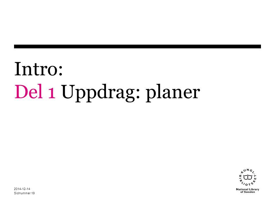 Intro: Del 1 Uppdrag: planer