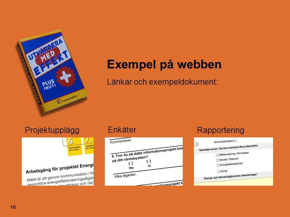 Exempel på webben Länkar och exempeldokument: Projektupplägg Enkäter