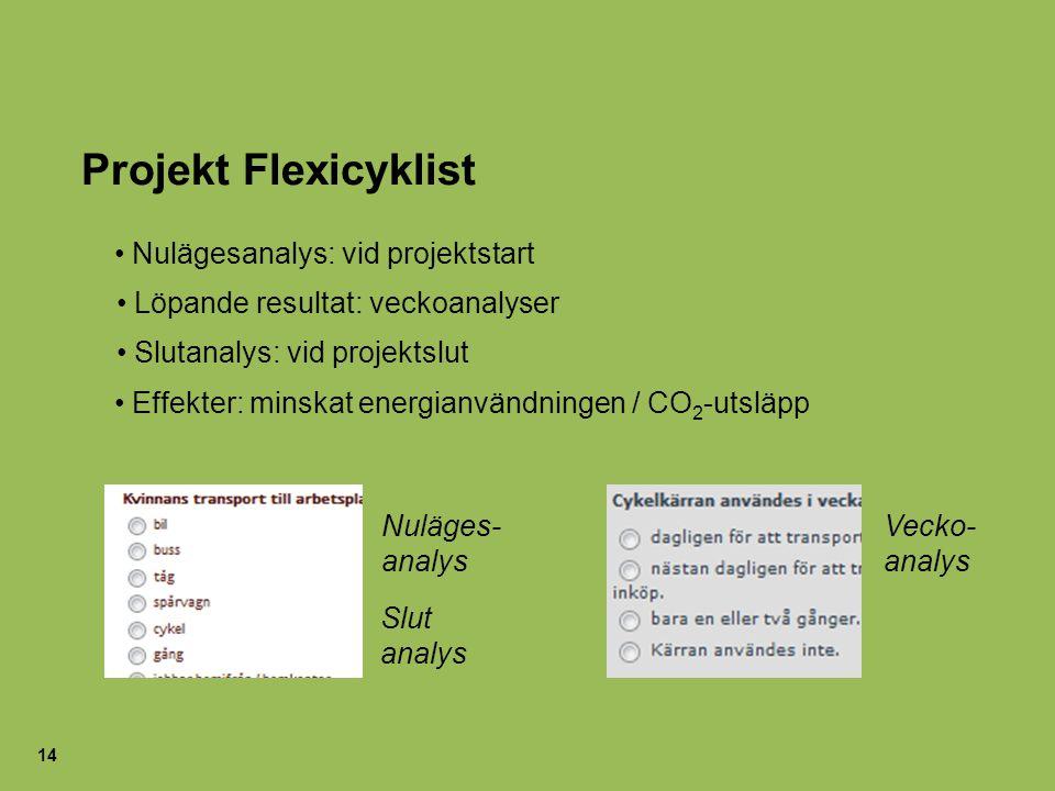 Projekt Flexicyklist Nulägesanalys: vid projektstart