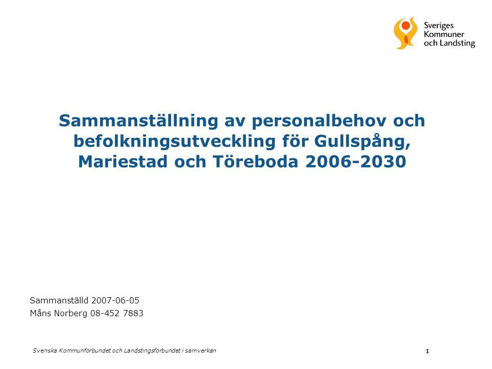 Sammanställning av personalbehov och befolkningsutveckling för Gullspång, Mariestad och Töreboda 2006-2030