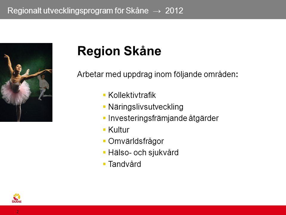 Region Skåne Arbetar med uppdrag inom följande områden: