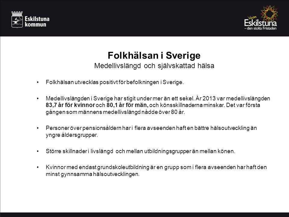 Folkhälsan i Sverige Medellivslängd och självskattad hälsa