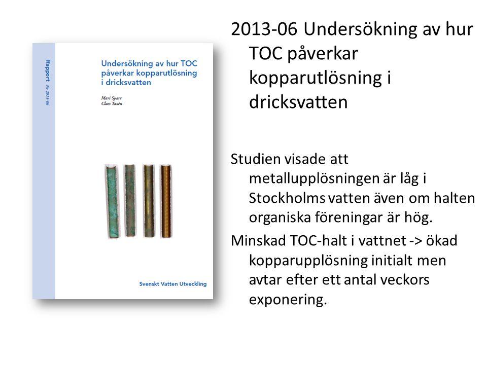 2013-06 Undersökning av hur TOC påverkar kopparutlösning i dricksvatten
