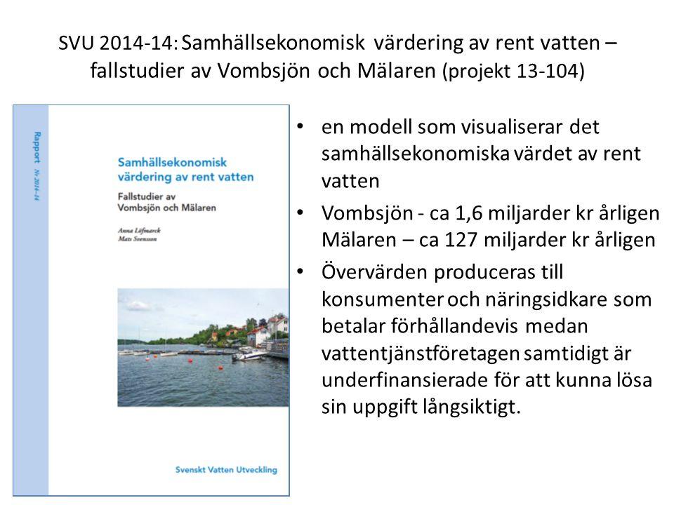 SVU 2014-14: Samhällsekonomisk värdering av rent vatten – fallstudier av Vombsjön och Mälaren (projekt 13-104)