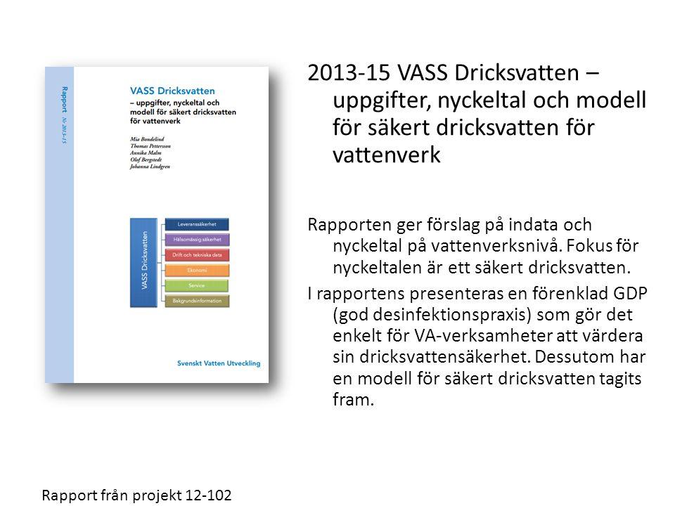 2013-15 VASS Dricksvatten – uppgifter, nyckeltal och modell för säkert dricksvatten för vattenverk