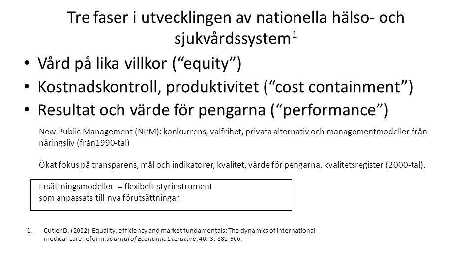 Tre faser i utvecklingen av nationella hälso- och sjukvårdssystem1