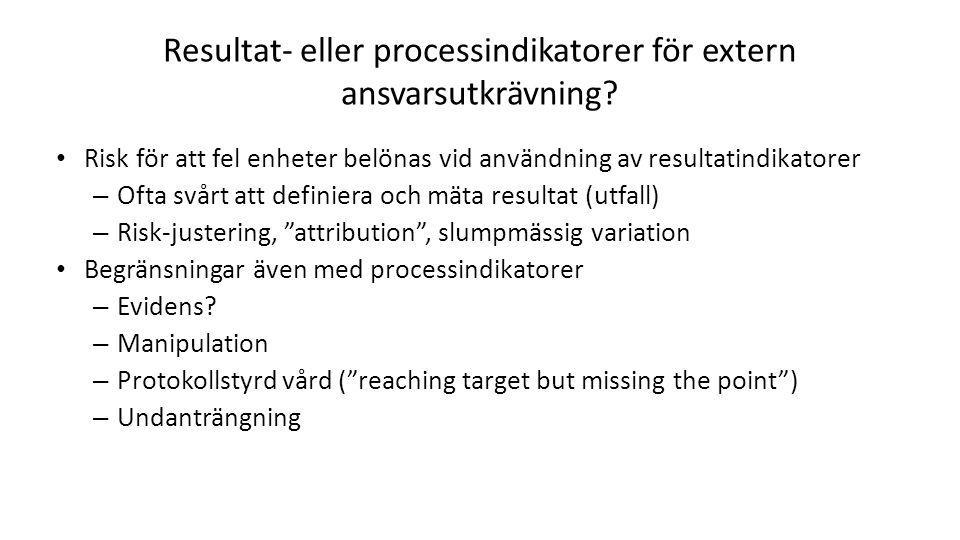 Resultat- eller processindikatorer för extern ansvarsutkrävning