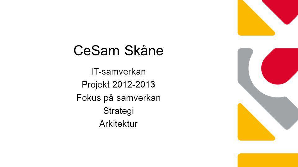 CeSam Skåne IT-samverkan Projekt 2012-2013 Fokus på samverkan Strategi