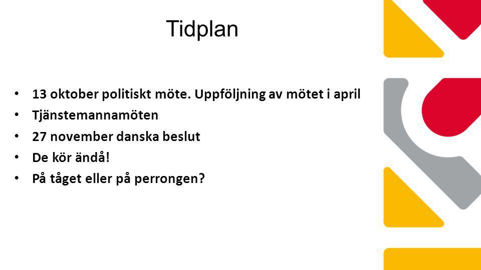 Tidplan 13 oktober politiskt möte. Uppföljning av mötet i april