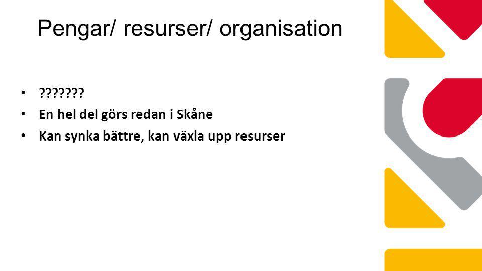 Pengar/ resurser/ organisation