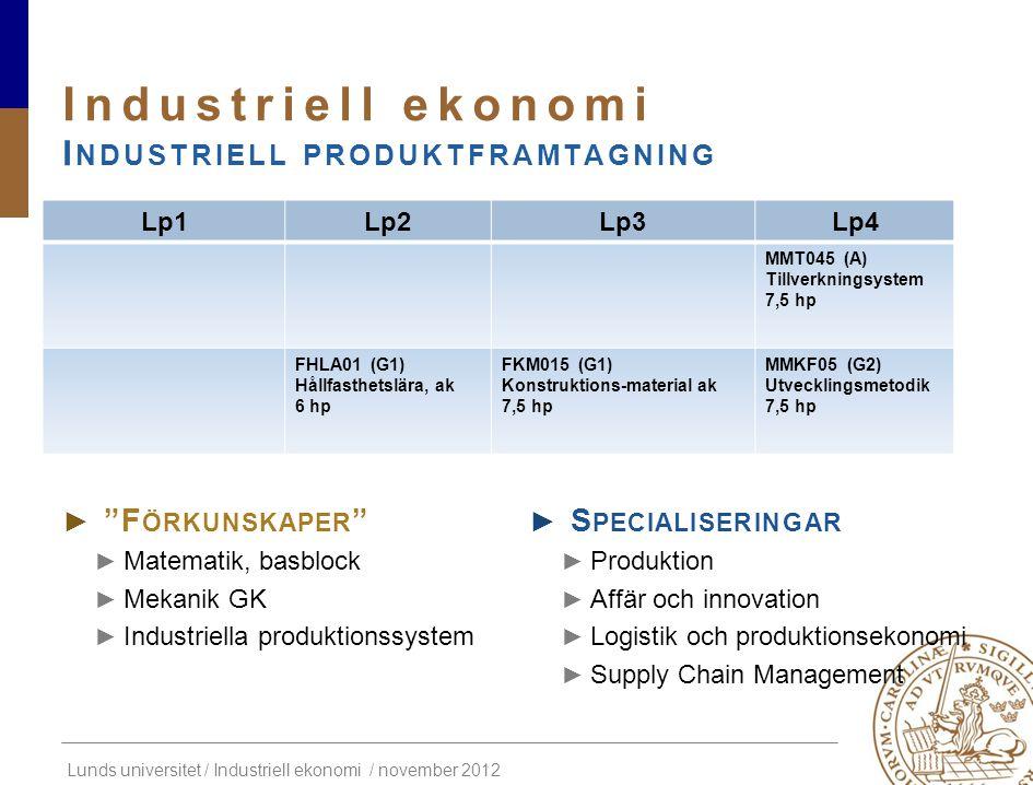 Industriell ekonomi Industriell produktframtagning