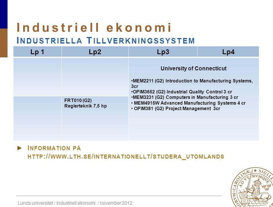 Industriell ekonomi Industriella Tillverkningssystem