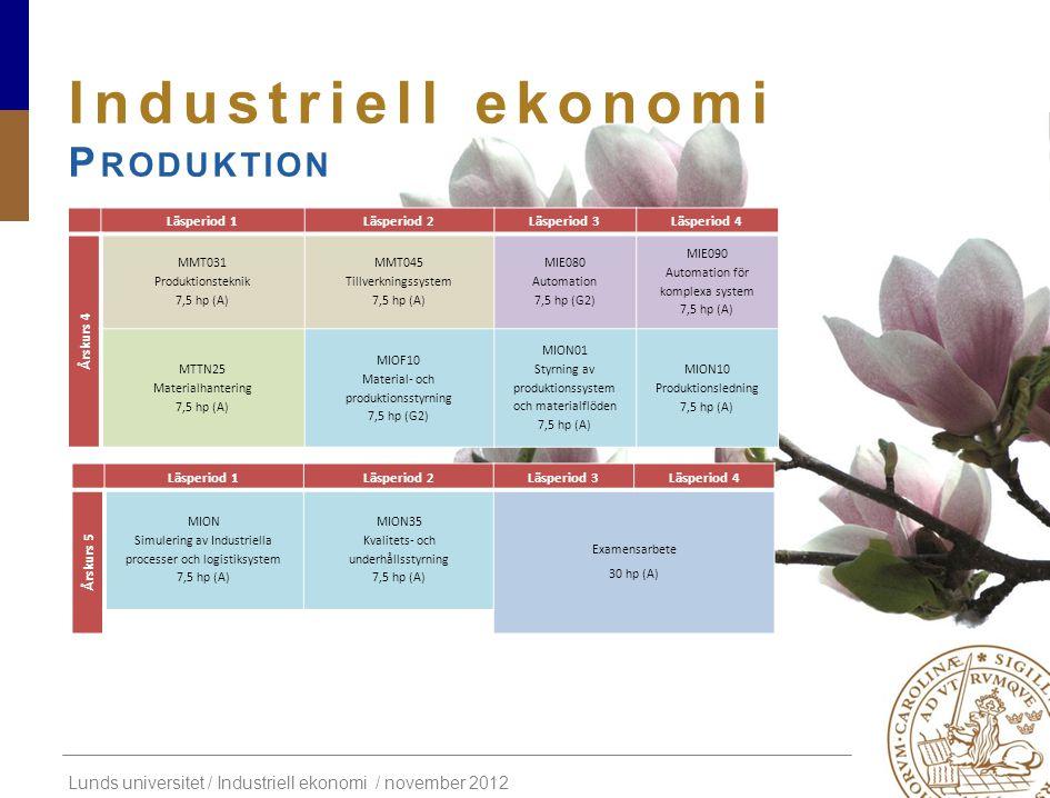 Industriell ekonomi Produktion