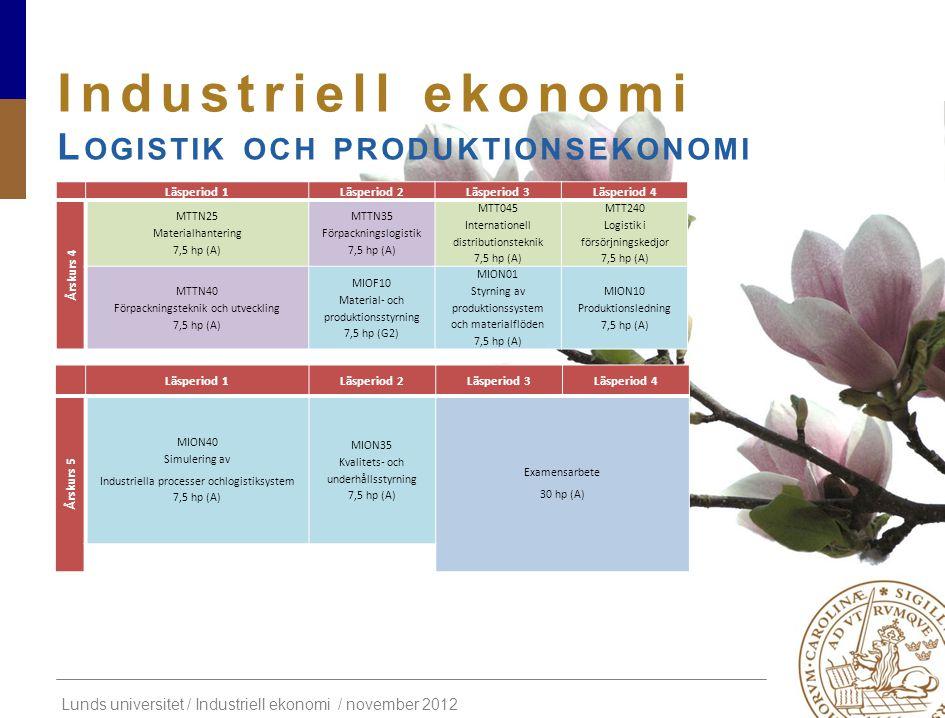 Industriell ekonomi Logistik och produktionsekonomi