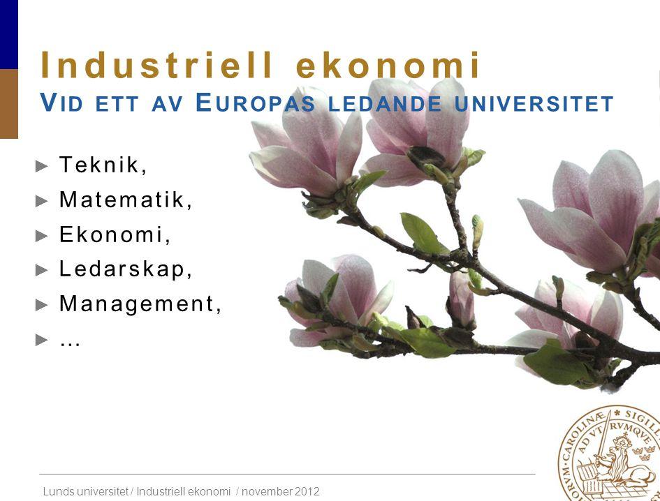 Industriell ekonomi Vid ett av Europas ledande universitet