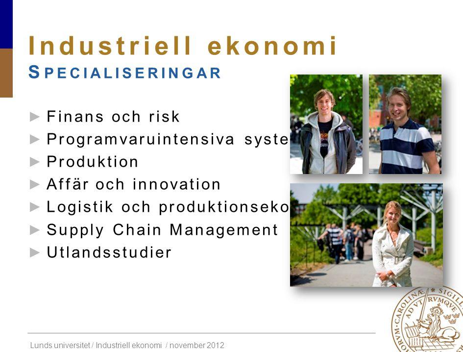 Industriell ekonomi Specialiseringar