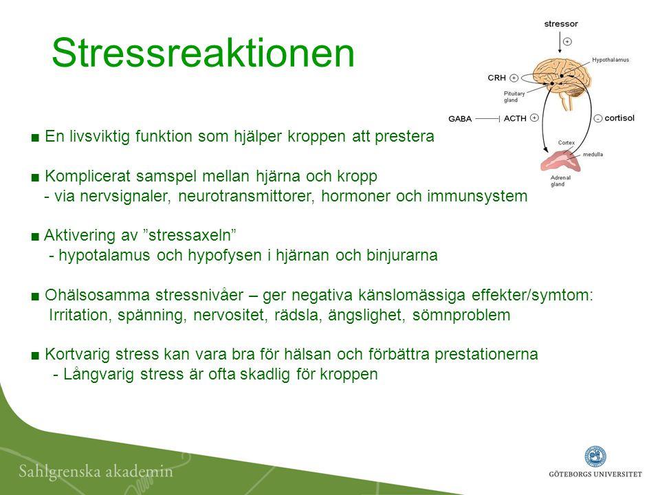 Stressreaktionen ■ En livsviktig funktion som hjälper kroppen att prestera. ■ Komplicerat samspel mellan hjärna och kropp.