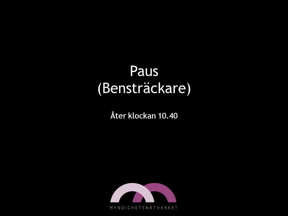 Paus (Bensträckare) Åter klockan 10.40