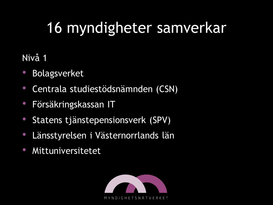 16 myndigheter samverkar