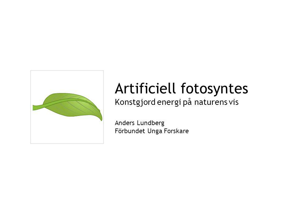 Artificiell fotosyntes Konstgjord energi på naturens vis Anders Lundberg Förbundet Unga Forskare