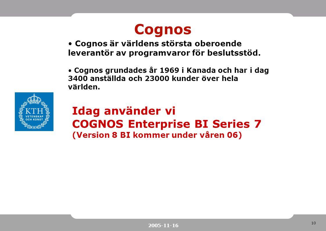 Cognos Idag använder vi COGNOS Enterprise BI Series 7