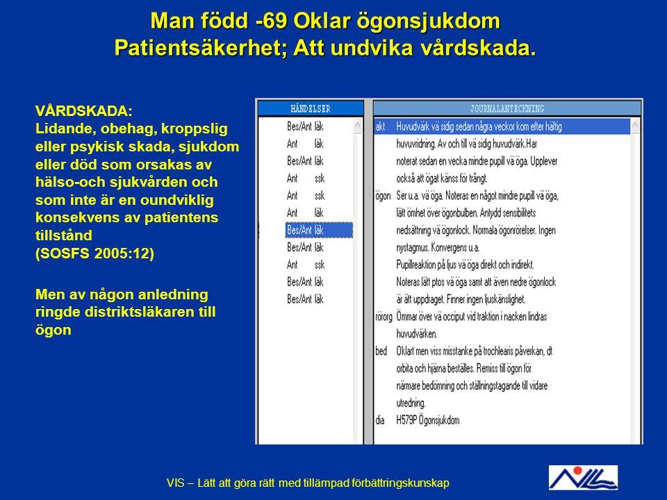 Man född -69 Oklar ögonsjukdom Patientsäkerhet; Att undvika vårdskada.