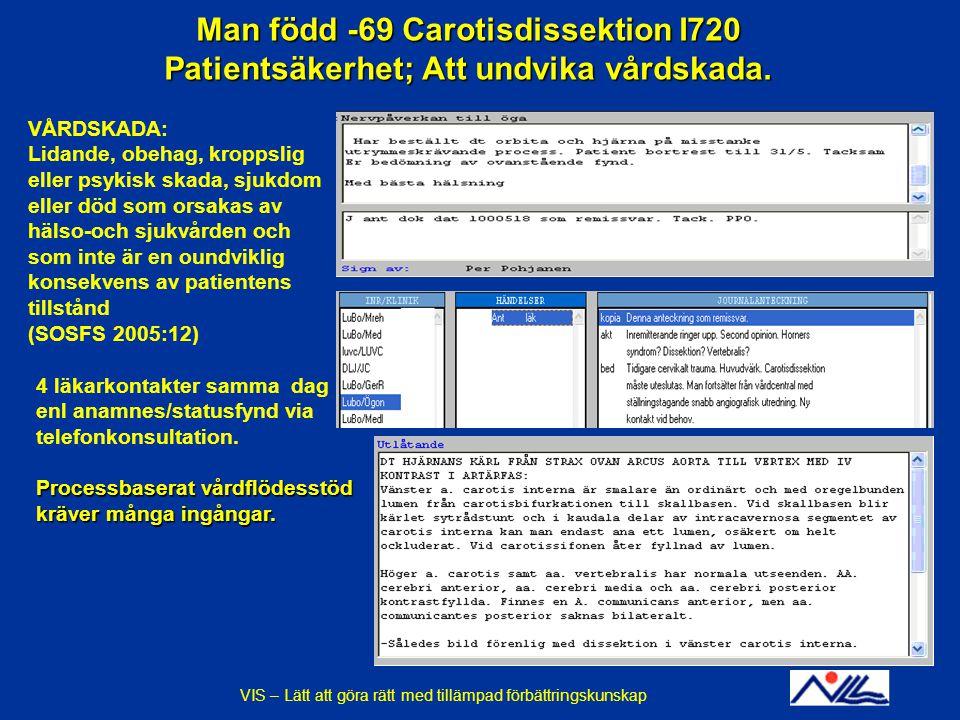 Man född -69 Carotisdissektion I720 Patientsäkerhet; Att undvika vårdskada.