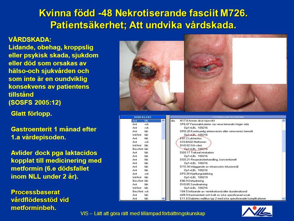 Kvinna född -48 Nekrotiserande fasciit M726