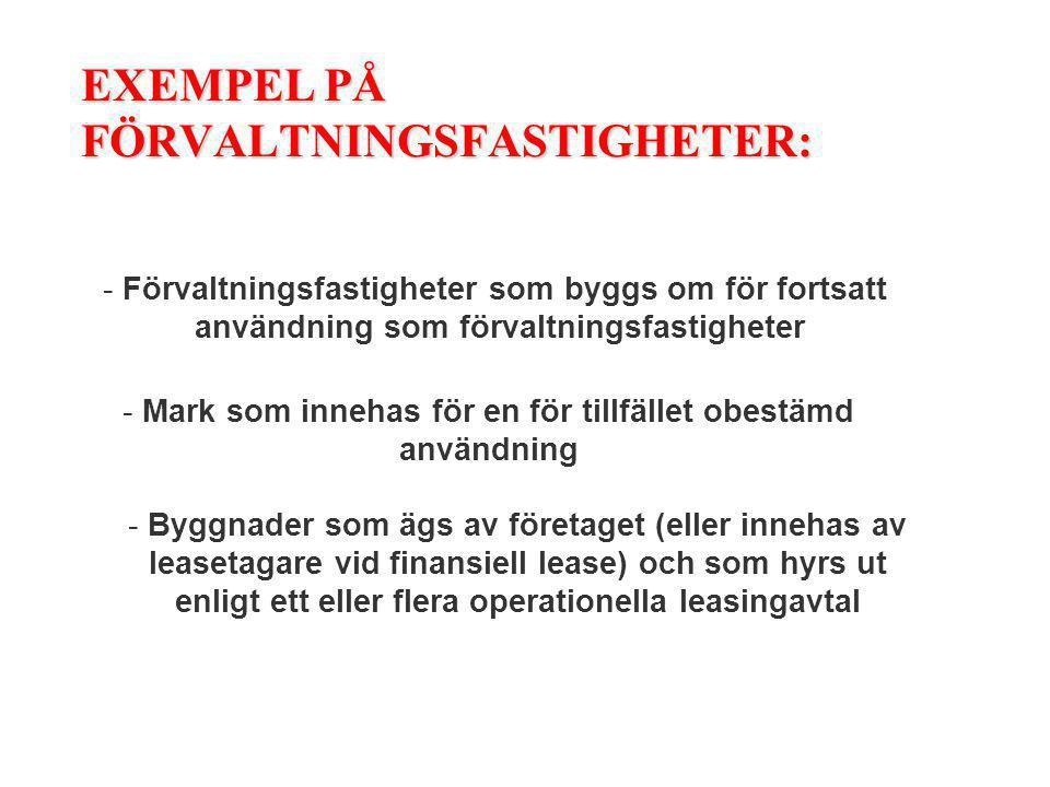 EXEMPEL PÅ FÖRVALTNINGSFASTIGHETER: