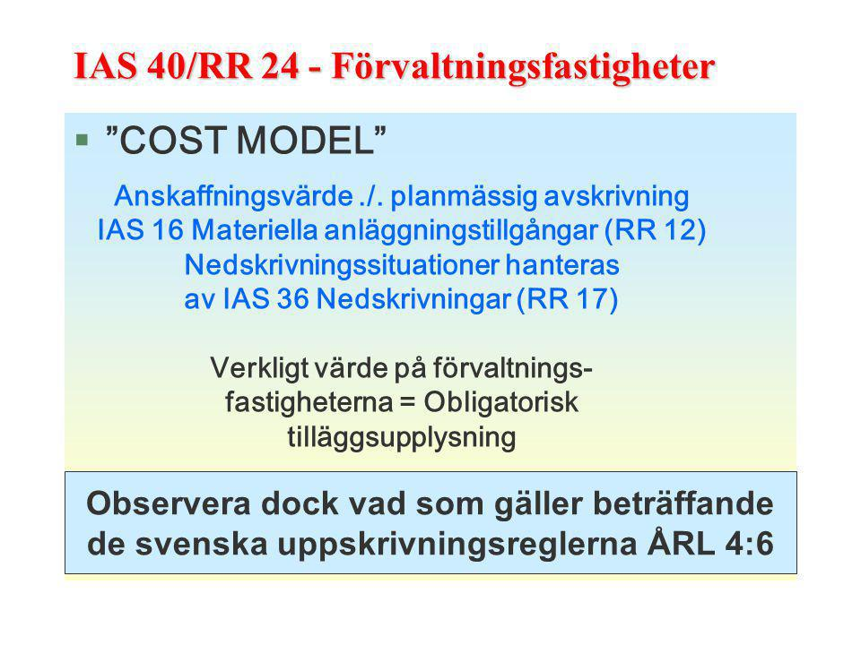 IAS 40/RR 24 - Förvaltningsfastigheter