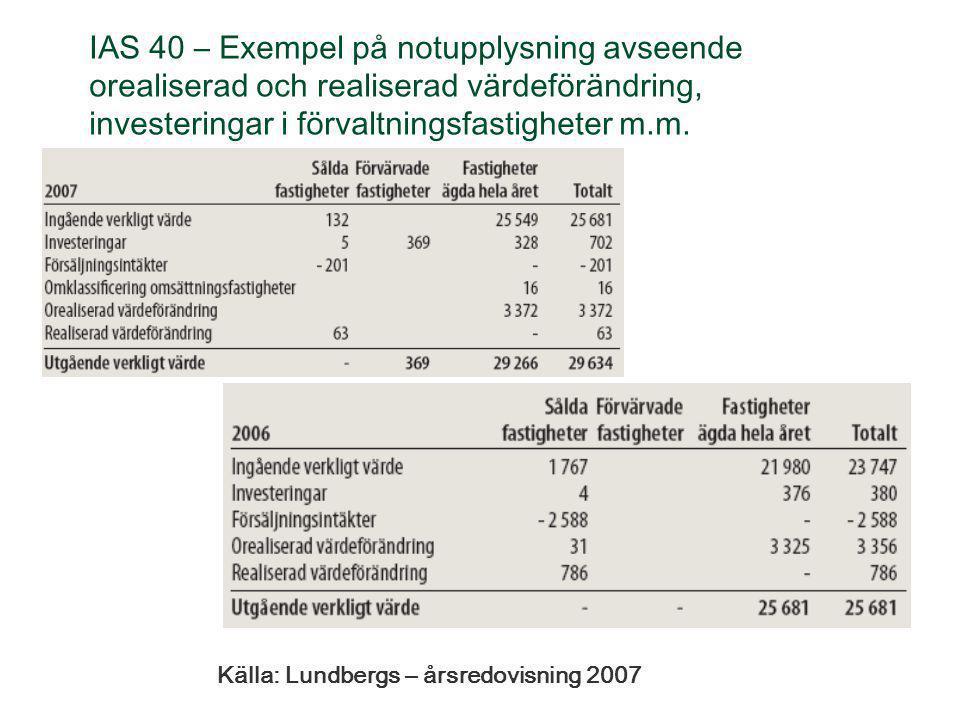 IAS 40 – Exempel på notupplysning avseende orealiserad och realiserad värdeförändring, investeringar i förvaltningsfastigheter m.m.
