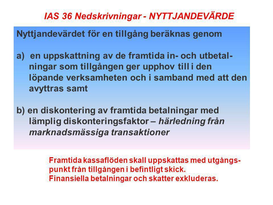 IAS 36 Nedskrivningar - NYTTJANDEVÄRDE
