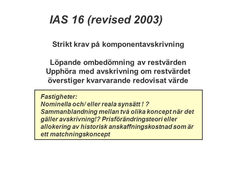 IAS 16 (revised 2003) Strikt krav på komponentavskrivning