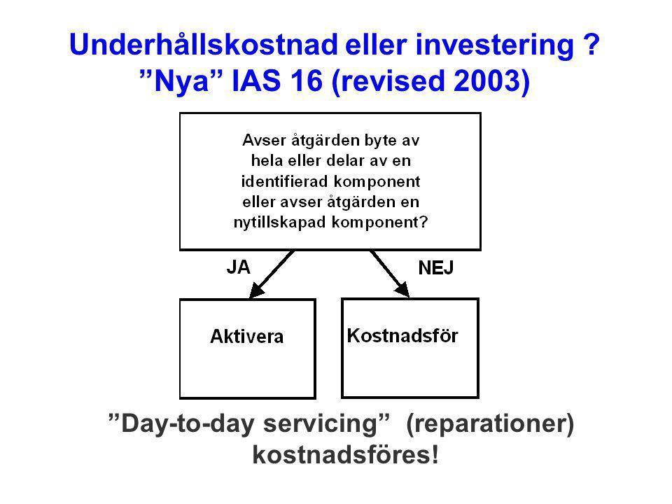 Underhållskostnad eller investering Nya IAS 16 (revised 2003)