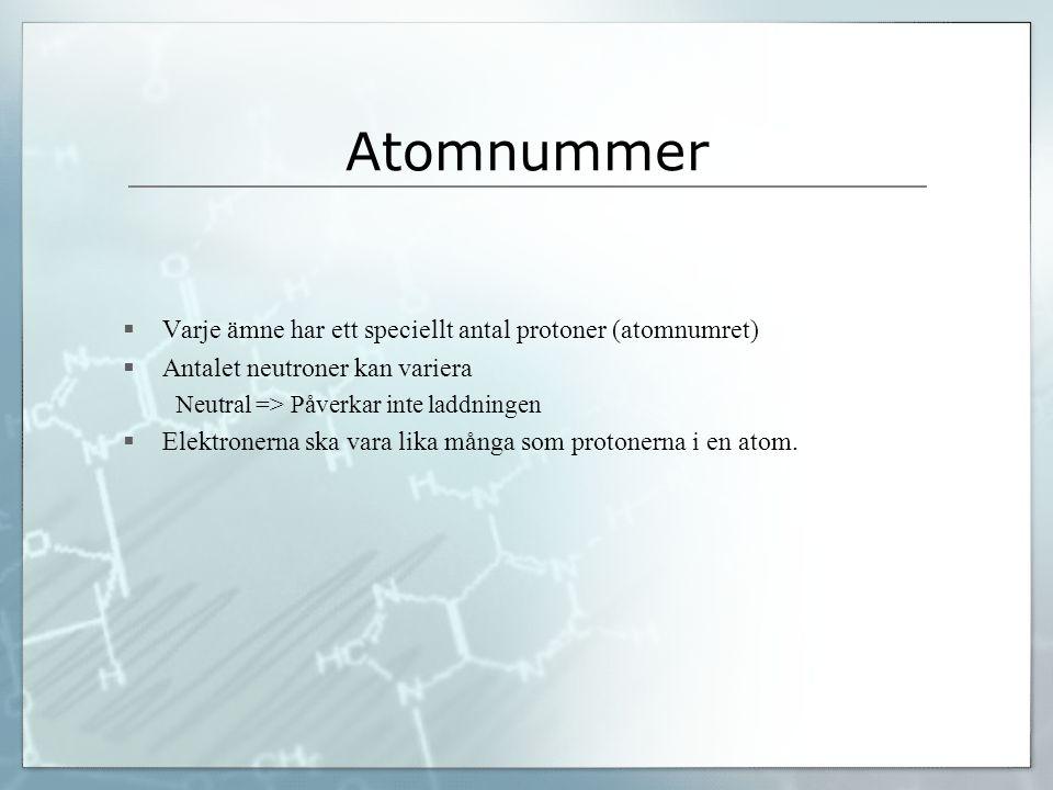 Atomnummer Varje ämne har ett speciellt antal protoner (atomnumret)
