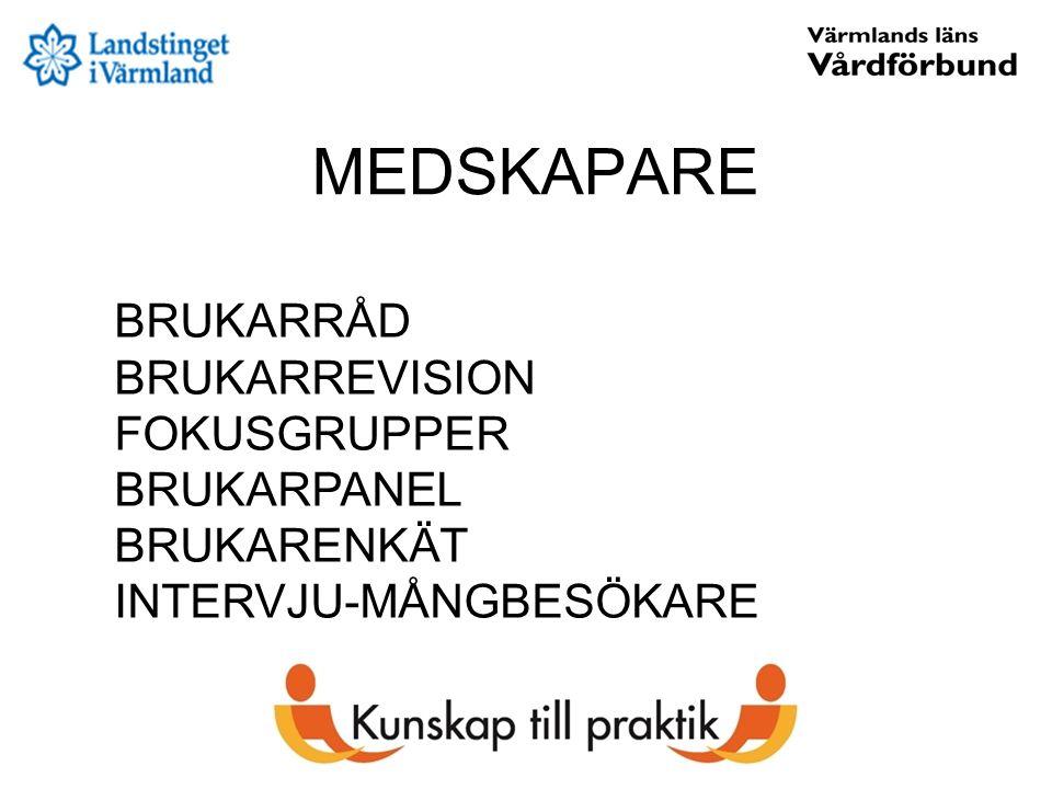 MEDSKAPARE BRUKARRÅD BRUKARREVISION FOKUSGRUPPER BRUKARPANEL