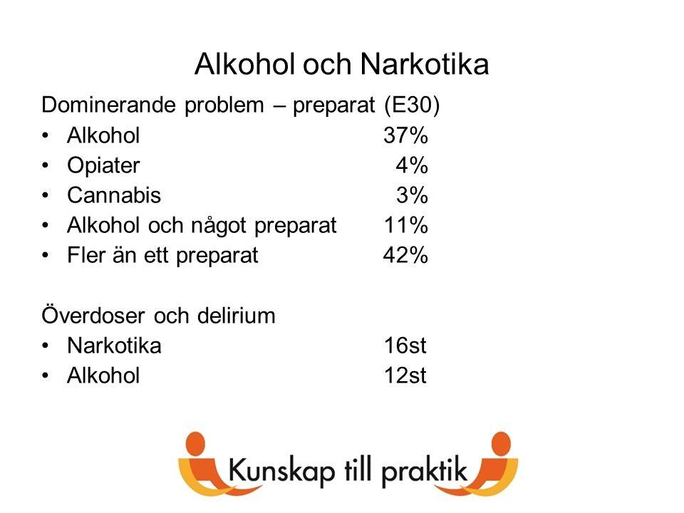 Alkohol och Narkotika Dominerande problem – preparat (E30) Alkohol 37%