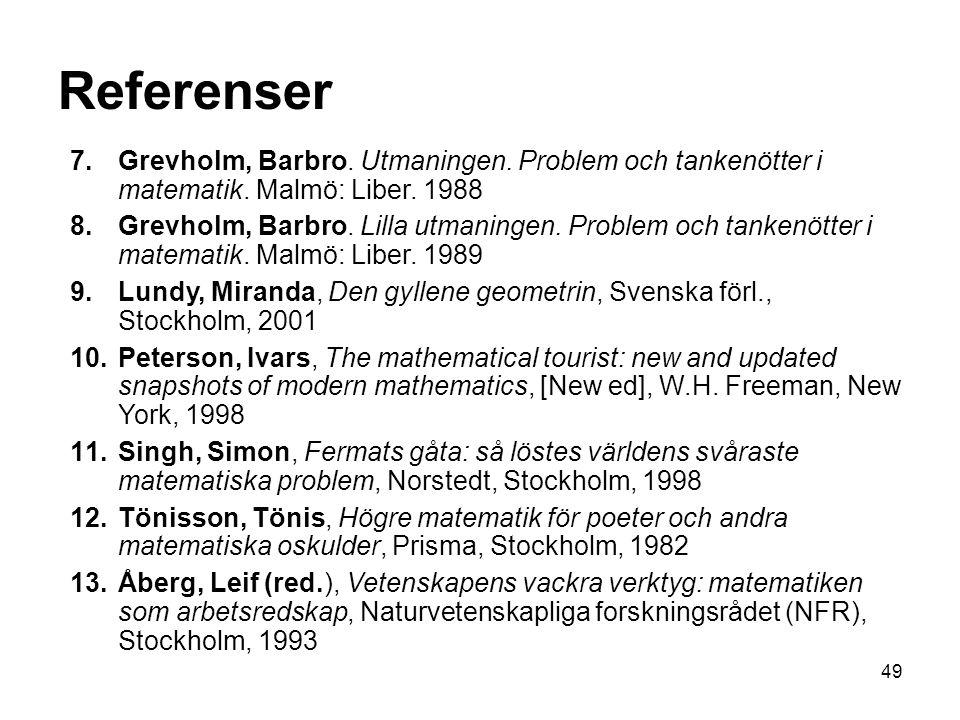 Referenser Grevholm, Barbro. Utmaningen. Problem och tankenötter i matematik. Malmö: Liber. 1988.