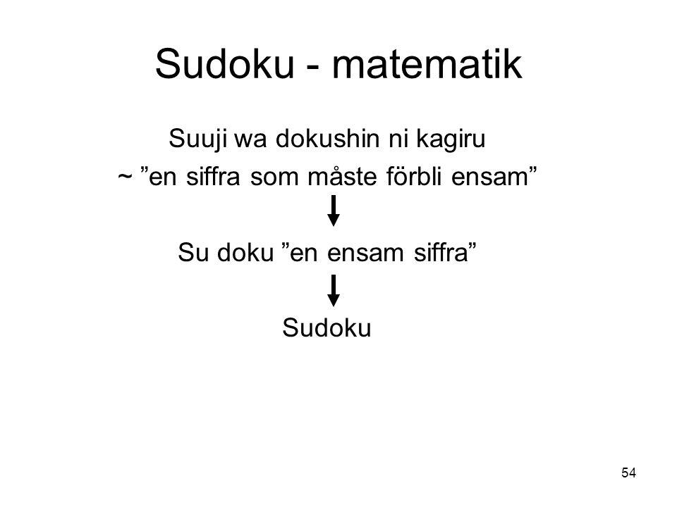Sudoku - matematik Suuji wa dokushin ni kagiru