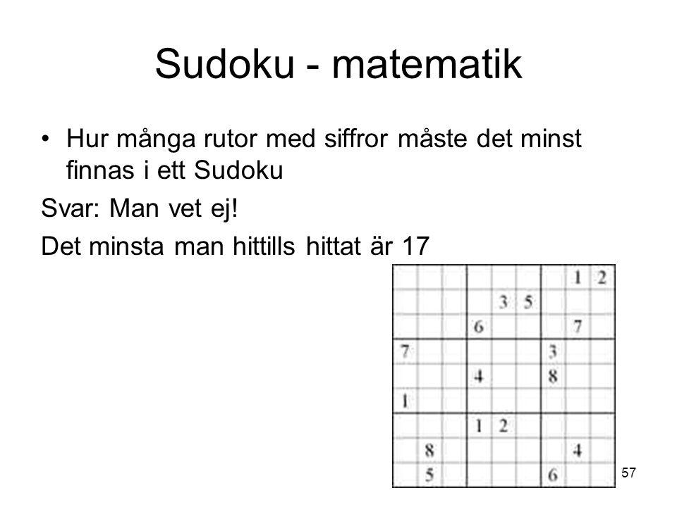 Sudoku - matematik. Hur många rutor med siffror måste det minst finnas i ett Sudoku.