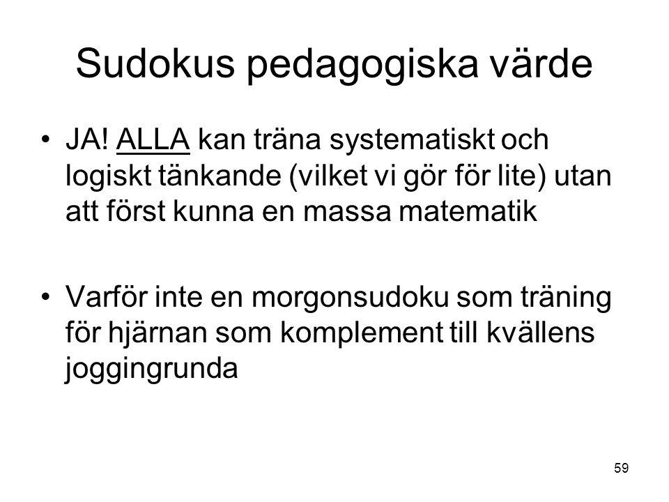 Sudokus pedagogiska värde