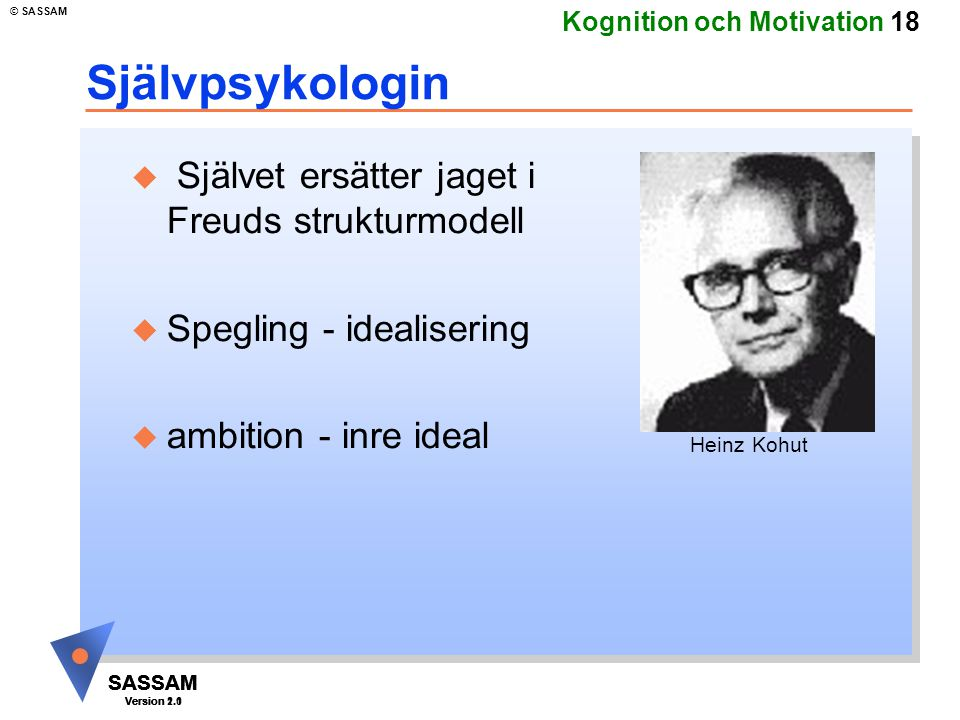 Självpsykologin Självet ersätter jaget i Freuds strukturmodell
