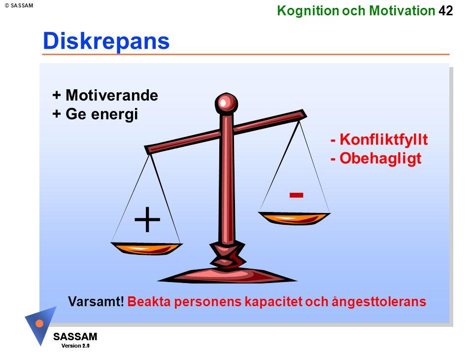 - + Diskrepans + Motiverande + Ge energi - Konfliktfyllt - Obehagligt