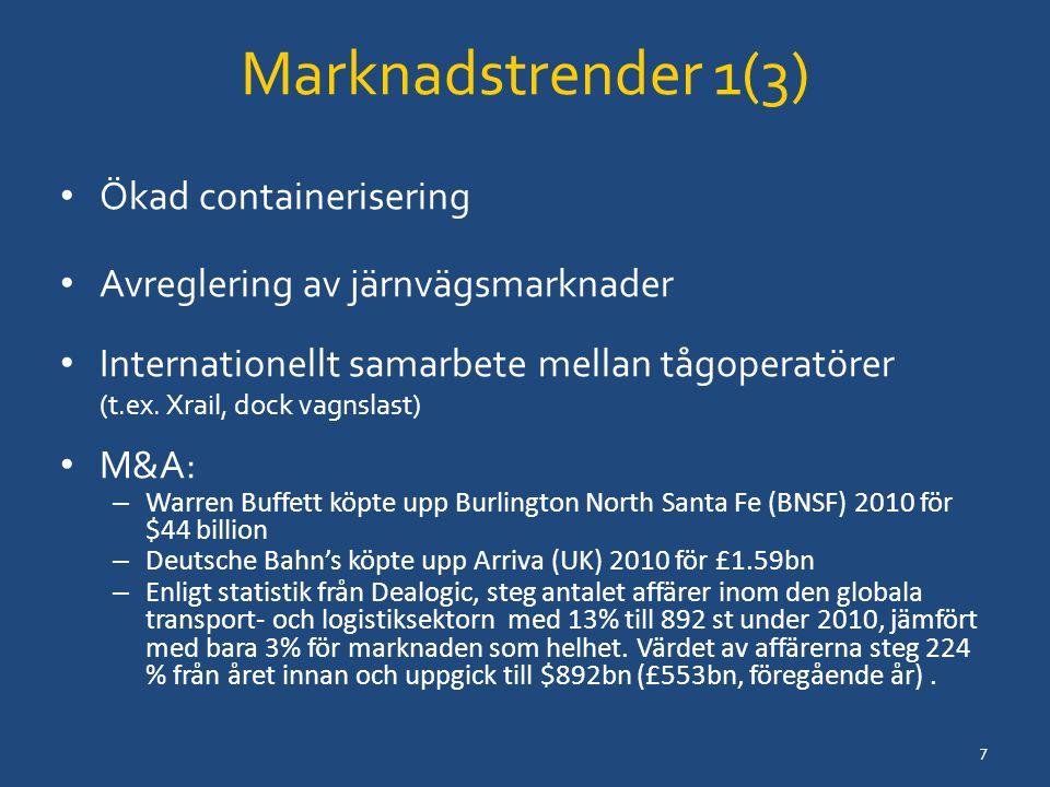Marknadstrender 1(3) Ökad containerisering